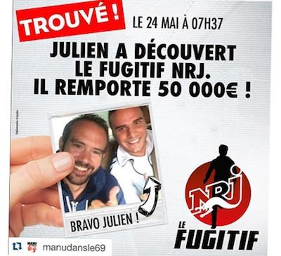 Le Fugitif NRJ a été trouvé, Julien remporte 50.000 euros