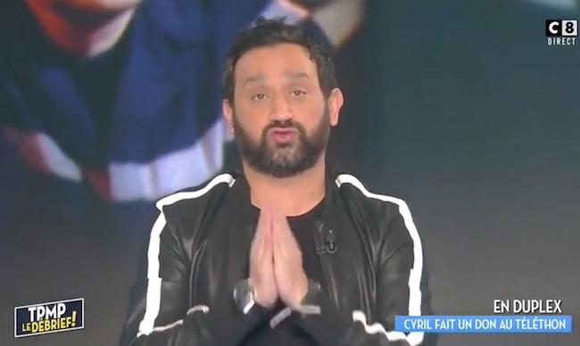 Cyril Hanouna fait un don au téléthon (Capture C8)