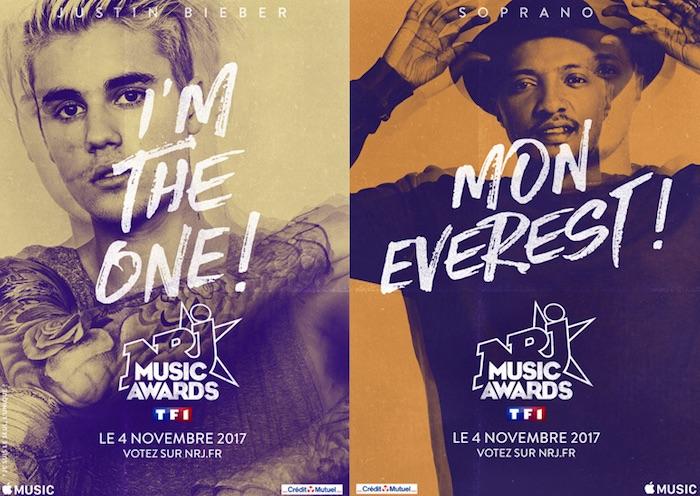 NRJ Music Awards 2017 : M.Pokora, Soprano, Justin Bieber et la suite des nominés