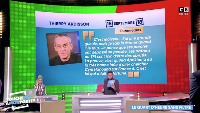 "TPMP, Cyril Hanouna tacle Thierry Ardisson : ""il devrait la fermer"" (VIDEO)"