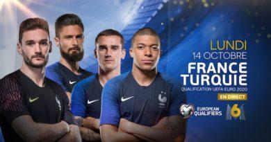 Audiences prime lundi 14 octobre : M6 très largement en tête avec  « France / Turquie », TF1 résiste avec « Coup de foudre en Andalousie »,