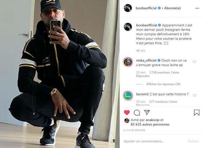 Booba : son compte officiellement supprimé par Instagram !