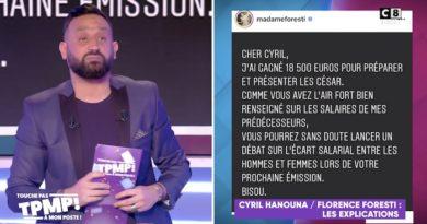 César 2020 : Florence Foresti répond à Cyril Hanouna sur son salaire